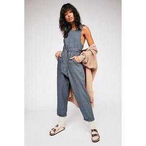 FREE PEOPLE Coladas All Day One-Piece Linen Jumpsuit Blue Size M Straight